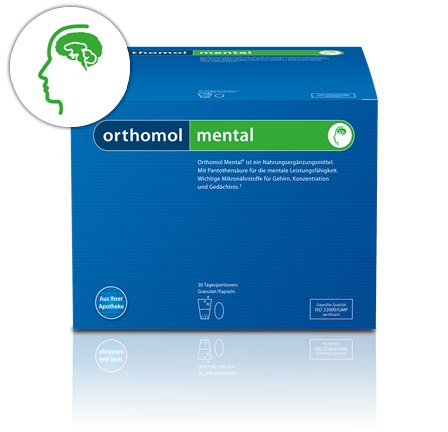 Orthomol Mental  способствуют повышению мозговой активности, улучшению памяти. Ортомол ментал, купить Ортомол ментал, Ортомол